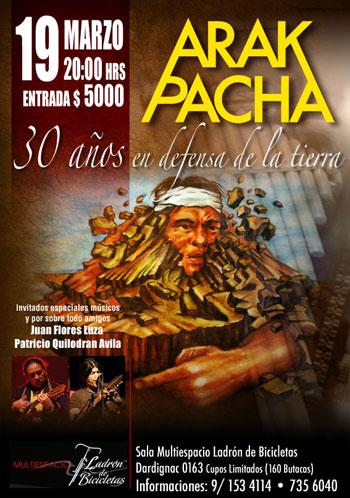 Cartel del concierto «30 años en defensa de la Tierra» de Arak Pacha.
