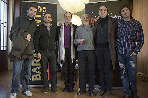 De izquierda a derecha: Roger Mas, Guillaume Lopez, Daniel Périssé —Presidente del Sèm e Serem—, Claudi Martí, Pere Camps —Director del BarnaSants— y Marçal Girbau —coordinador del proyecto—. © Xavier Pintanel