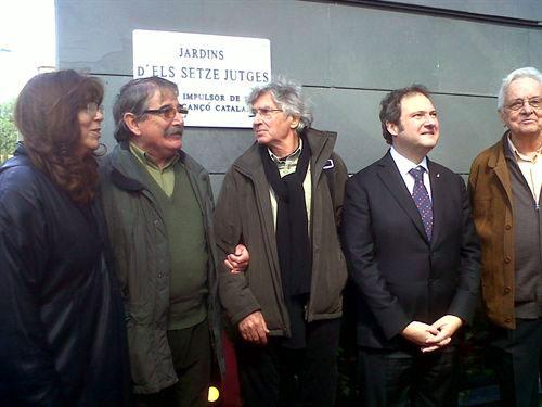 De izquierda a derecha: Maria del Mar Bonet, Martí Llaurador, Joan Ramon Bonet, Jordi Hereu y Lluís Serahima. © EP