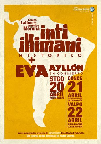 Afiche de la mini gira chilena «Cantos de Latinoamérica Morena» de Eva Ayllón e Inti-Illimani Histórico.