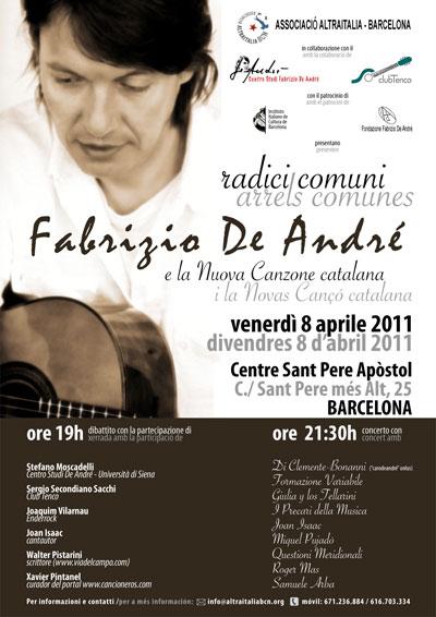 Cartel de «Radici comuni», homenaje a Fabrizio De André.