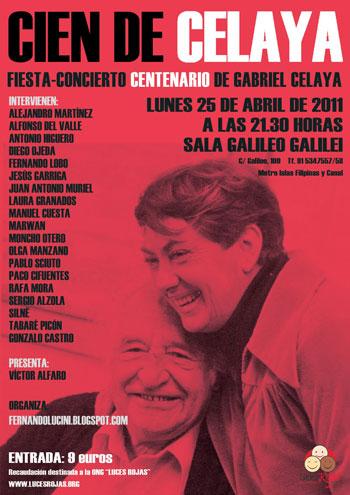 Cartel de la Fiesta-Concierto Centenario de Gabriel Celaya.