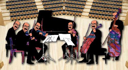 Viñeta de José Luis Cano en la que todos los músicos que aparecen llevan el rostro de José Antonio Labordeta.