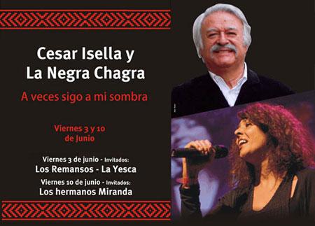 Cartel del espectáculo «A veces sigo a mi sombra» de Cesar Isella y la Negra Chagra.