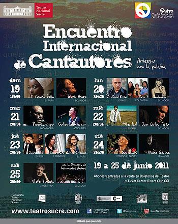 Cartel del II Encuentro Internacional de Cantautores.