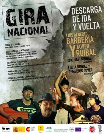 Cartel de la gira «Descarga de ida y vuelta» de Javier Ruibal y Luis Alberto Barbería.