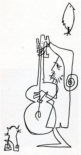 Facundo Cabral. Autorretrato extraído del LP grabado en vivo en el teatro Embassy, de Buenos Aires, en 1972.