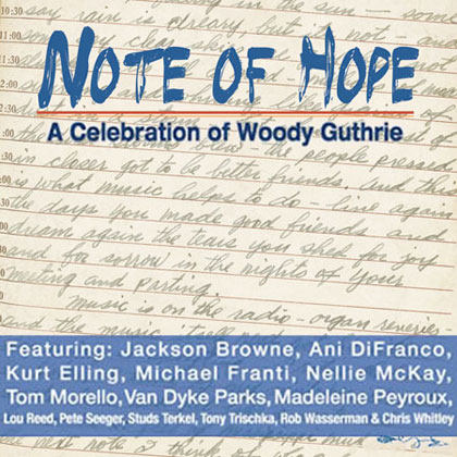 Portada del disco homenaje a Woody Guthrie «Note of hope».