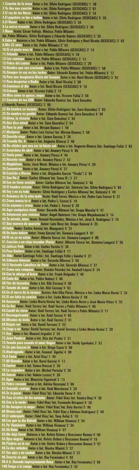Listado de canciones del CD «Trova 100 temas»