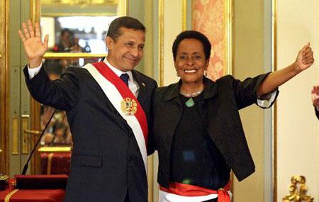 Ollanta Humala, Presidente del Perú con la Ministra de Cultura Susana Baca.