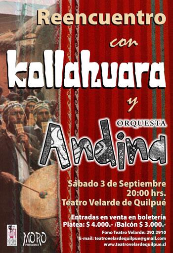 Cartel del concierto de Kollahuara y Orquesta Andina.