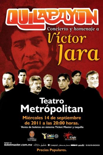 Cartel del concierto de Quilapayún-Carrasco en homenaje a Víctor Jara en México.