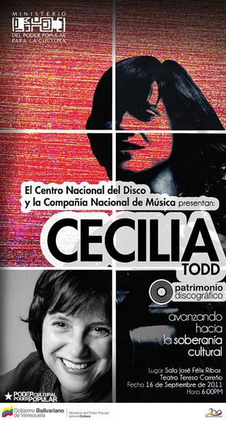 Cartel de la presentación de la reedición de «Canto venezolano» de Cecilia Todd.