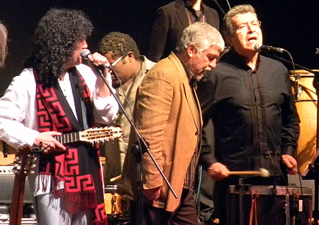 Roberto Márquez, Jorge Coulón y Rodolfo Parada; líderes de Illapu, Inti-Illimani y Quilapayún-Parada/Wang, respectivamente. © Víctor Tapia