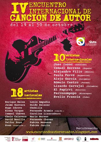 Cartel del IV Encuentro Internacional de Canción de Autor 2011 en Ecuador.