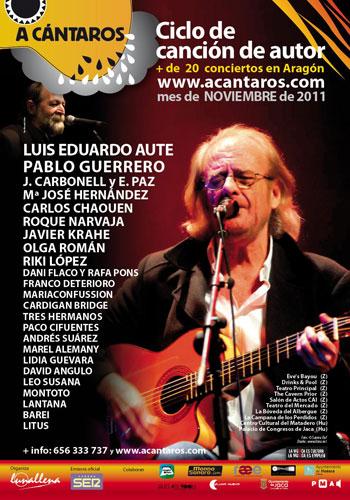 Cartel del II Festival de Canción de Autor «A cántaros» en Aragón.