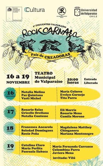 Cartel del V Encuentro Rock Carnaza «País de creadoras».