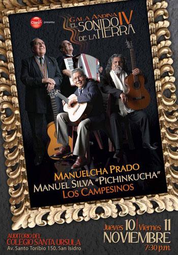Cartel del concierto «El sonido de la tierra» de Manuelcha Prado, Manuel Silva «Pichinkucha» y Los Campesinos.