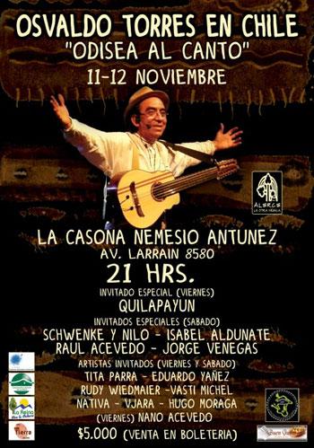 Cartel de los conciertos «La odisea al canto» de Osvaldo Torres.