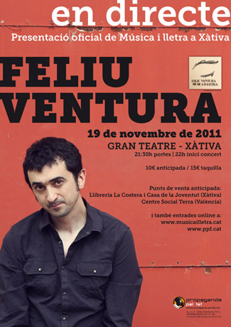 Cartel del concierto de presentación de «Música i lletra» de Feliu Ventura en Xàtiva.