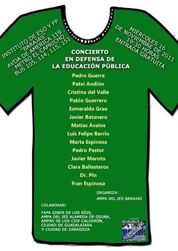 Cartel del «Concierto en defensa de la educación pública»