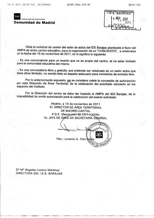 Documento de la Consejería de Educación de la Comunidad de Madrid denegando el permiso para la celebración del «Concierto en defensa de la educación pública» en el IES Barajas.