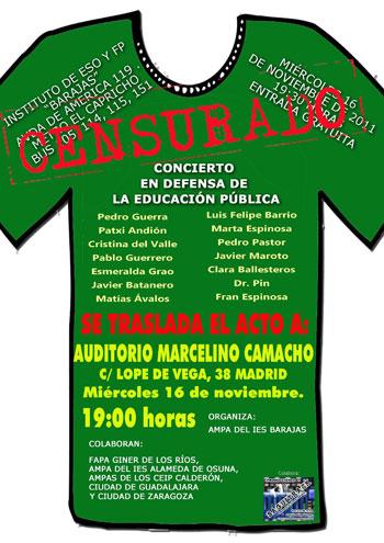 Nuevo cartel del «Concierto en defensa de la educación pública».
