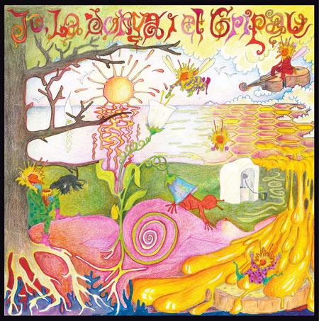 La psicodélica portada original de «Jo, la donya i el gripau» dibujada por el propio Pau Riba.