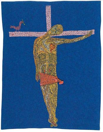 Cristo en bikini (1964), arpillera de Violeta Parra © Fundación Violeta Parra