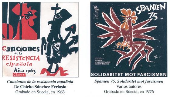 Estas son dos de las portadas de discos que forman parte de la exposición. Corresponden al disco original de Chicho Sánchez Ferlosio grabado en Suecia en 1963 y a una de sus  versiones publicada en 1976.