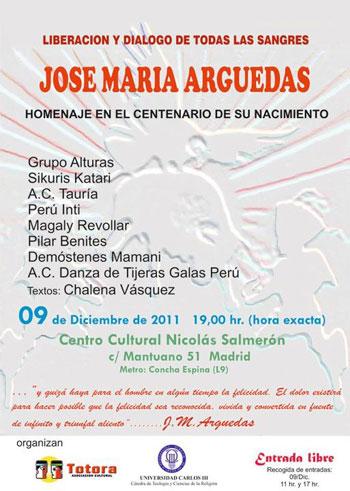 Cartel del homenaje a José María Arguedas en Madrid.
