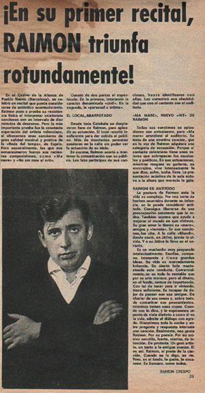 Recorte de un artículo de la Revista Fans de 7 de marzo de 1966 donde se relata el concierto de debut en Barcelona de Raimon en el Teatro de l'Aliança del Poble Nou. © Archivo Raimon/Annalisa Corti