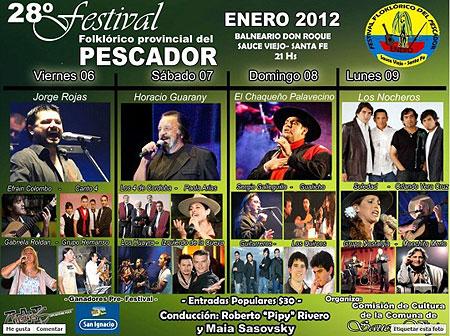 Cartel del 28 Festival Provincial Folclórico del Pescador-Sauce Viejo.