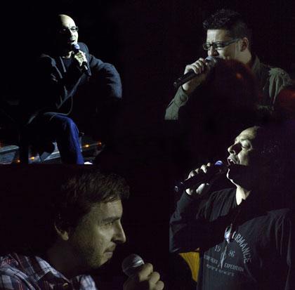 Enric Hernáez, Dani Flaco, Pau Alabajos y Joan Isaac mezclados entre el público en el concierto inaugural del Festival BarnaSants 2012 © Xavier Pintanel
