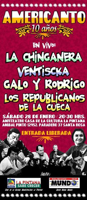 Cartel del concierto «Americanto 10 años».