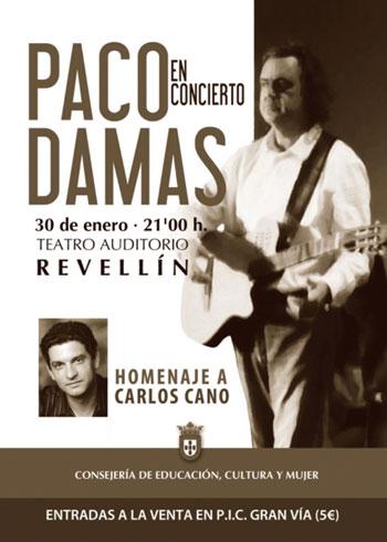 Cartel del concierto de Paco Damas «Homenaje a Carlos Cano».