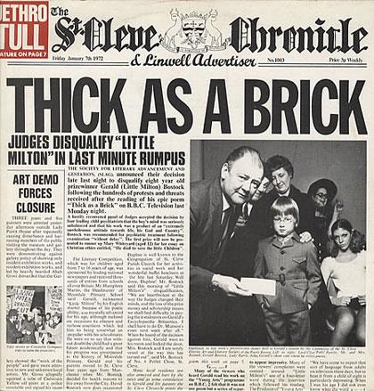 Portada del mítico disco «Thick As A Brick» de Jethro Tull.