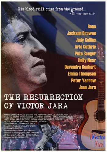 Cartel del documental «The resurrection of Víctor Jara» dirigido por John Travers.