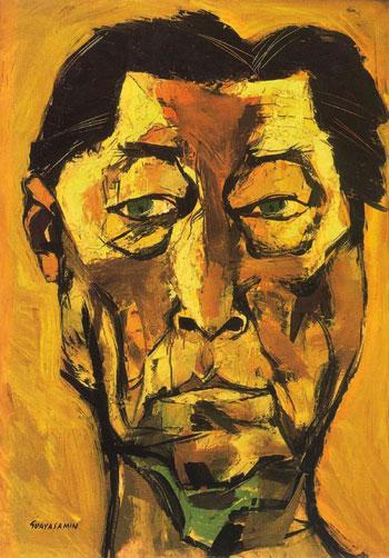 Retrato de Atahualpa Yupanqui por Oswaldo Guayasamín. © Fundación Guayasamín