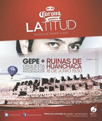Cartel concierto de Gepe con la Orquesta Sinfónica de Antofagasta en las ruinas de Huanchaca.