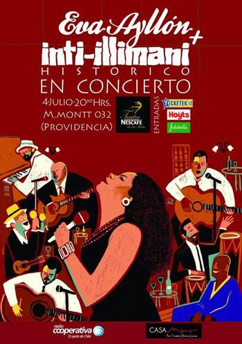 Cartel del concierto «Eva Ayllón   Inti-Illimani Histórico» en el Teatro Nescafé de las Artes.