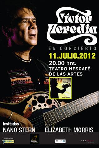 Cartel del concierto de Víctor Heredia en el Teatro Nescafé de las Artes.