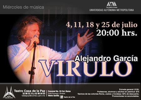 Cartel del concierto en el Teatro Casa de la Paz de México de Alejandro García «Virulo».