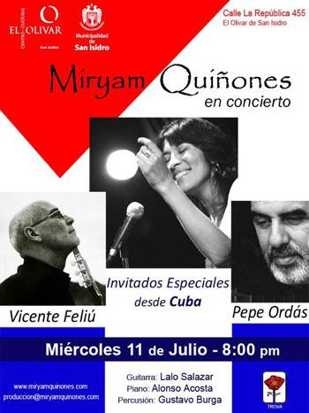 Cartel del concierto de Miryam Quiñones en Lima con Vicente Feliú y Pepe Ordás.