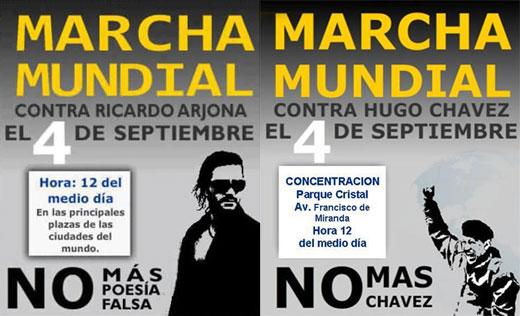 A la izquierda el cartel «Marcha mundial contra Ricardo Arjona» y a la derecha el cartel parodiado.