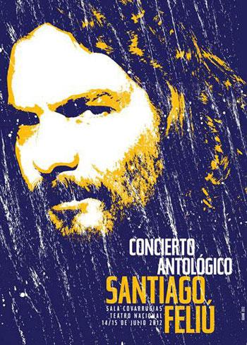 Cartel del concierto de Santiago Feliú en el Teatro Nacional de Cuba.