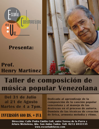 Cartel del «Taller de composición de música popular venezolana».