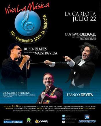 Cartel del concierto «Viva la Música» de Gustavo Dudamel, Rubén Blades y Franco de Vita.
