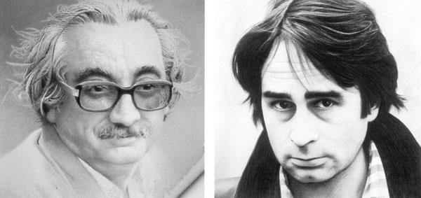 A la izquierda, retrato de Joan Fuster creado por Manolo Boix, a la derecha, retrato de Ovidi Montllor creado por Toni Miró, ambos, pintores valencianos.