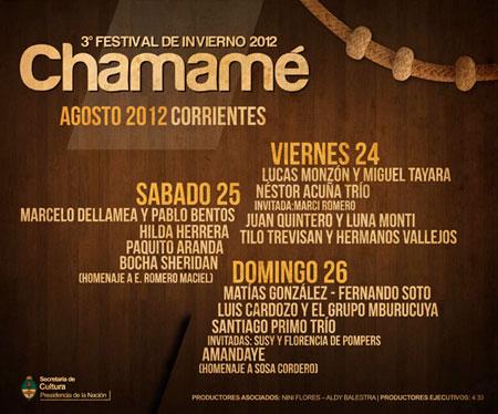 Cartel del III Festival de Invierno de Chamamé 2012